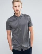 HUGO BOSS HUGO by Daltos Shirt Short Sleeve Mercerised Jersey Slim Fit in Gray