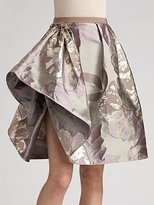 Ruffle Hem Brocade Skirt