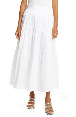 STAUD Tiered Stretch Cotton Maxi Skirt