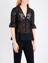 The Kooples Embellished floral-embroidered chiffon blouse