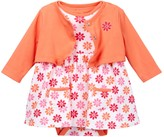 Offspring Floral Dot Bodysuit Dress & Cardigan Set (Baby Girls)