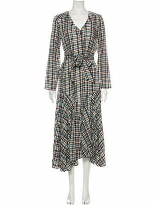 Apiece Apart Plaid Print Midi Length Dress w/ Tags Green
