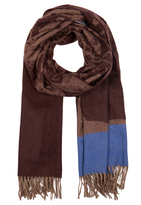 Johnstons of Elgin Plum and Blue Jacquard Tree Cashmere Scarf