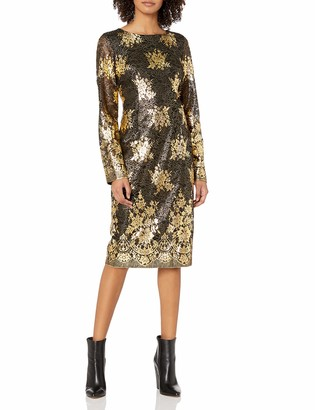 Nicole Miller Women's Long Sleeve Metallic Lace Fitted Cocktail Dress
