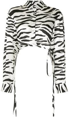CHRISTOPHER ESBER Zebra-Print Wrap Tie Blouse