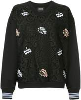 Markus Lupfer embroidered detail lace sweatshirt