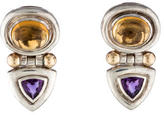 David Yurman Citrine & Amethyst Clip On Earrings