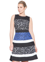 ELOQUII Plus Size Studio Mixed Print Fit and Flare Dress