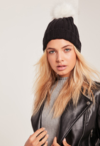 Missguided Black Contrast Faux Fur Pom Pom Beanie
