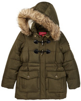 Catherine Malandrino Faux Fur Trimmed Faux Shearling Lining Toggle Bubble Jacket (Big Girls)