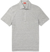 Isaia Slim-fit Space-dyed Knitted Linen And Cotton-blend Polo Shirt