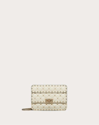 Valentino Garavani Small Rockstud Spike Nappa Leather Bag Women Light Ivory Lambskin 100% OneSize