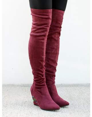 Nature Breeze Over the Knee Women's Wedge Heel Boots in Wine