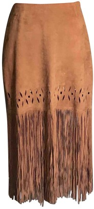 Pinko Brown Leather Skirt for Women