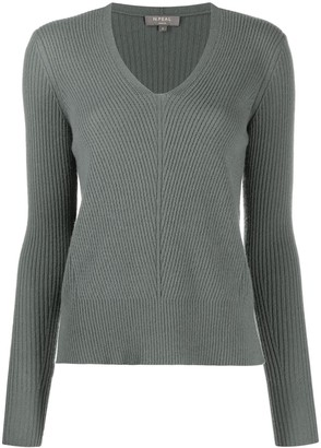 N.Peal V-neck ribbed knit sweater