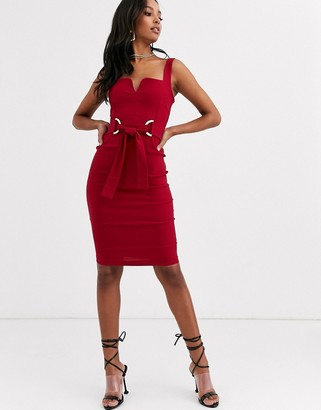 Vesper midi dress with obi wrap belt in burgundy