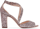 Jimmy Choo Carrie Glittered Leather Sandals - Antique rose
