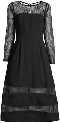 Aidan Mattox Shadow Stripe Lace & Crepe Dress