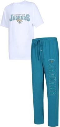 Men's Concepts Sport Teal/White Jacksonville Jaguars Big & Tall Topic T-Shirt & Pants Sleep Set