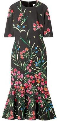 Carolina Herrera Fluted Floral-print Cotton-blend Midi Dress