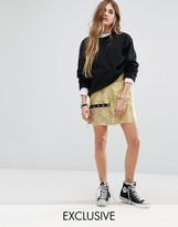 Reclaimed Vintage Mini Skirt In Brocade With Eyelet Detail