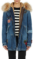Mr and Mrs Italy Women's Denim Fur-Trimmed Parka