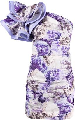 Elisabetta Franchi Asymmetric Ruffle-Sleeve Dress