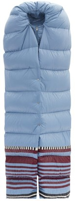 1 Moncler Pierpaolo Piccioli - Adelaide Striped-hem Padded-scarf Jacket - Light Blue