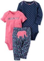 Carter's 3-Pc. Cotton Happy Bodysuits & Elephant Pants Set, Baby Girls