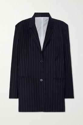 Frankie Shop Pernille Oversized Striped Woven Blazer - Navy