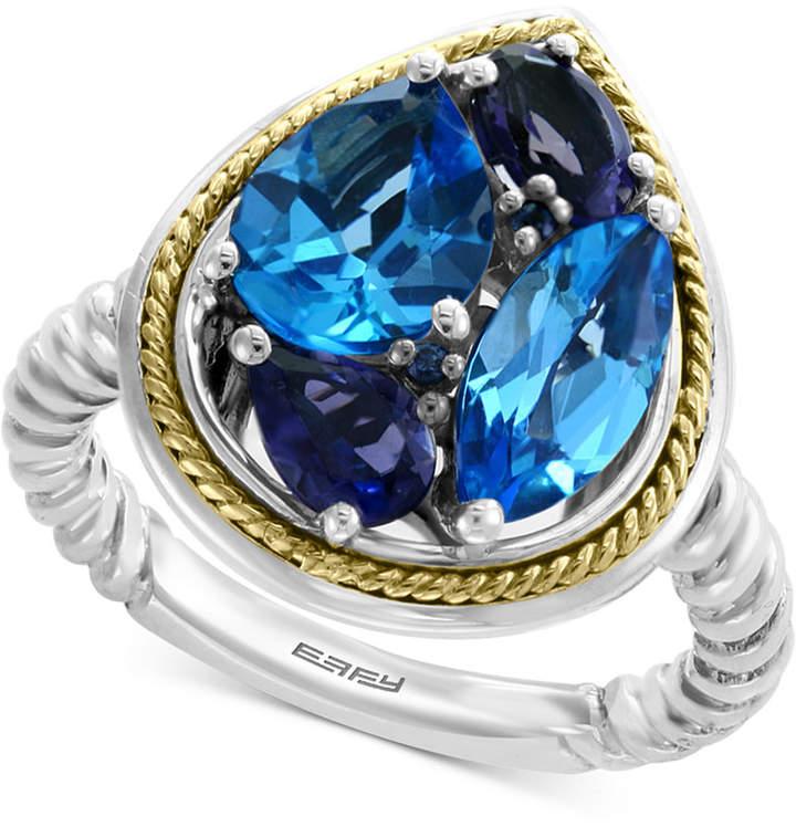 Effy Multi-Gemstone Teardrop Ring (3-9/10 ct. t.w.) in Sterling Silver & 18k Gold