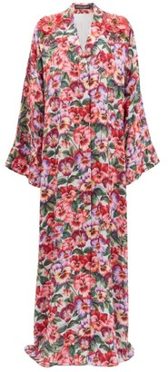 Dolce & Gabbana Beaded Violet-print Silk-blend Maxi Dress - Pink Print