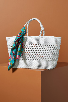 Anthropologie Shira Woven Tote Bag By in White Size ALL