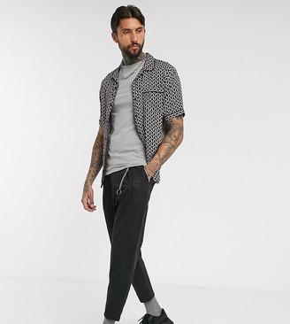 Bershka slim vertical stripe trouser with chain in dark grey