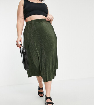 ASOS DESIGN Curve plisse midi skirt in forest green