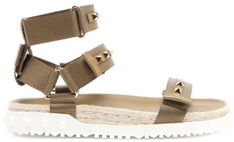 Valentino Rockstud Canvas And Jute Sandals - Khaki
