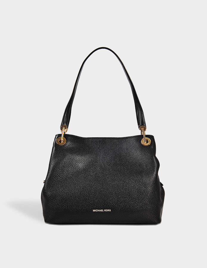 MICHAEL Michael Kors Raven Large Shoulder Tote Bag in Black Pebble Leather