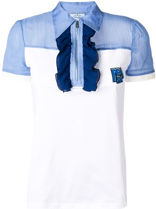 Prada ruffle detail polo shirt