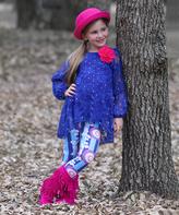 Royal Atina Tunic & Floral Leggings - Toddler & Girls
