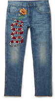 Gucci Slim-fit Embroidered Stonewashed Denim Jeans