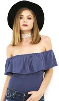 West Coast Wardrobe Valencia Flounce Off the Shoulder Bodysuit in Denim Blue