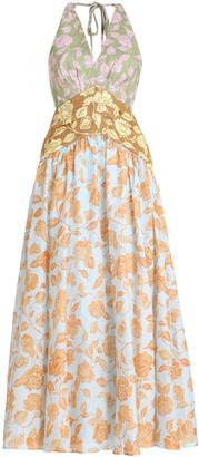 Zimmermann The Lovestruck Tri-Printed Linen Midi Dress