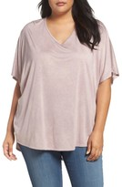 Sejour Plus Size Women's Oversized Double V-Neck Tee