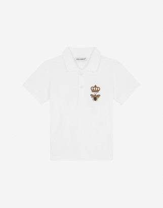 Dolce & Gabbana Pique Polo Shirt With Bee And Crown Embellishment