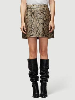 Frame Embossed Python Leather Mini Skirt