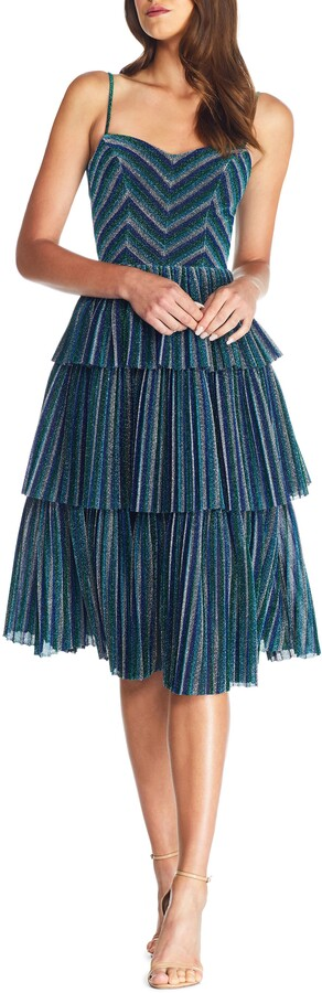 Dress the Population Kathy Glitter Stripe Tiered Ruffle Cocktail Dress