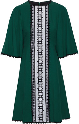Andrew Gn Lace-paneled Crochet-trimmed Crepe Mini Dress