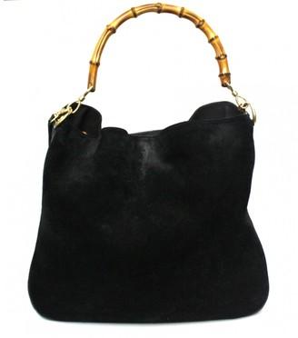Gucci Bamboo Black Suede Handbags