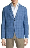 Armani Collezioni Plaid Linen Two-Button Soft Jacket, Cornflower Blue