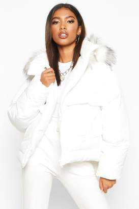 boohoo Faux Fur Trim Double Pocket Puffer